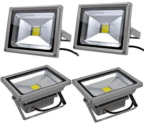 Leetop 4X 20W Top-Qualität LED Lampe Fluter Scheinwerfer IP65 Warmweiß Warmweiss Grau Aluminium Flutlicht Wasserdicht Strahler