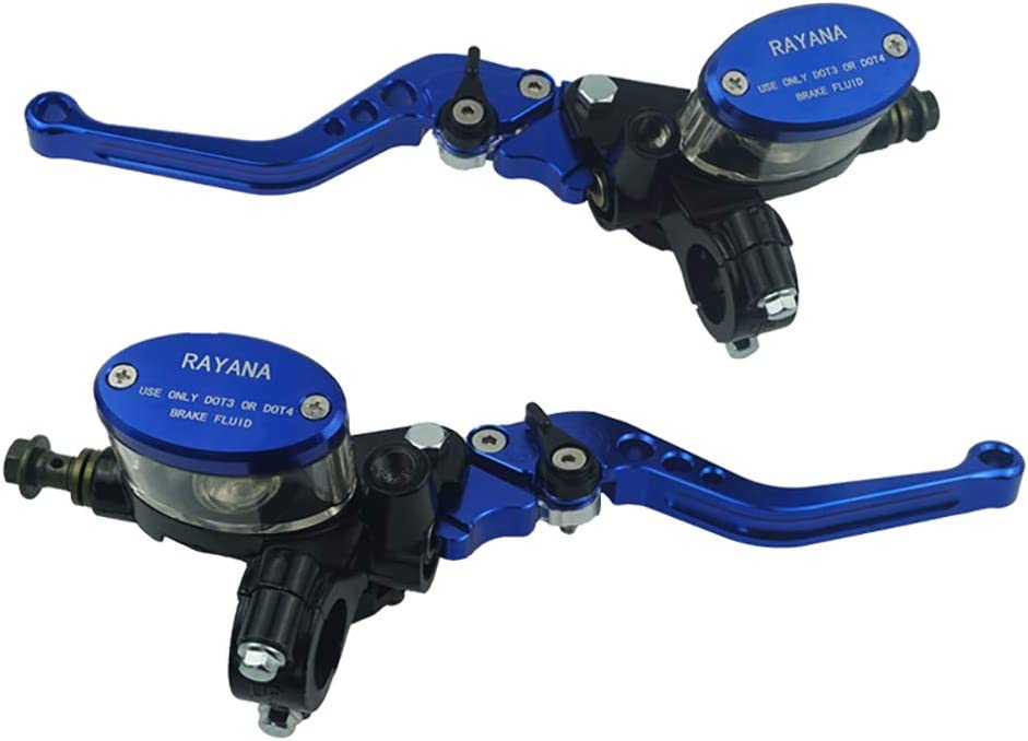 Farbe : Blau LANGRMS Universal Motorrad 22mm 7//8  Hauptbremszylinder-Beh/älter Hydraulischer Kupplungshebel Einstellbar