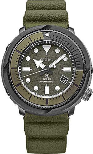 Seiko Solar Diver SNE535 Relógio masculino camuflado verde pulseira de borracha de silicone com mostrador de quartzo verde camuflado