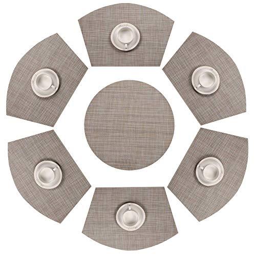 AMAZING1 Juego de 7 manteles individuales redondos de mesa, resistentes al calor, lavables (7, beige, blanco y negro)