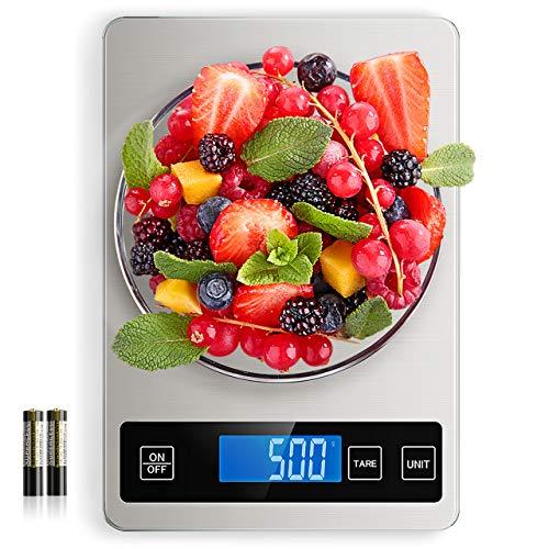 NBPOWER Küchenwaage Digital, Essenswaage mit Großem Panel Gehärtetes Glas Electronische Waage 2 Batterien I Haushaltswaage, 1 g Richtigkeit und 10kg Maximalgewicht (2g-10kg)
