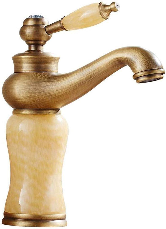 ZJGZDCP Waschtischarmaturen Basin Tap Badarmatur Wasserhahn Becken Bathroom Sink Europischer Stil Antik Messing Marmor Polieren Warmes Und Kaltes Mischen (Farbe   Topaz)