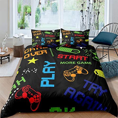 HGFHGD 7-farbige Buchstaben-Spielgriffe, 3D-Druck, Textil-Bettwäsche-Set für Erwachsene, Studenten, Bettbezug, groß, extra groß