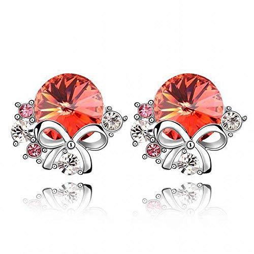 O&YQ Pendientes de Cristal - Pendientes de Moda con Flores Accesorios Femeninos, Agua Lotus Red 2-154