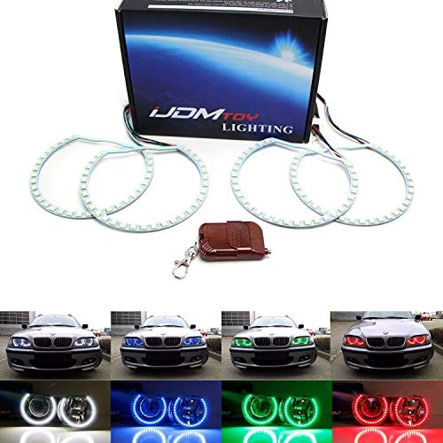 iJDMTOY 120-SMD RGBW Multi-Color LED Angel Eyes Halo Ring Lighting Kit w/Wireless Remote Control for BMW E36 E46 E38 E39 3 5 7 Series
