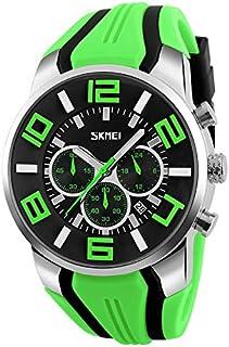 Songlin@yuan 9128 Modern Simplicity Fashion Multifunctional 3D Large Dial Sports Wristwatch Waterproof Quartz Watch Fashion (Color : Green)