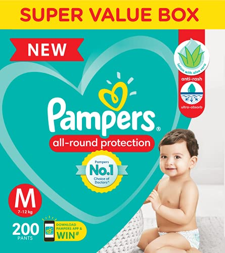 Pampers All round Protection Pants, Medium size baby diapers (MD) 200 Count, Lotion with Aloe Vera