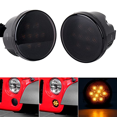 JK Turn Signal Lights Smoke Lens Amber LED Front Grill Indicator Parking Lights for Jeep Wrangler JK JKU 2007-2017