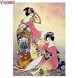 XCxCN 5D-DIY-Diamond Kit de Pintura Diamante Redondo Geisha Japonesa Kimono Belleza Diamante Bordado Etiqueta de la Pared Pegar Manualidades Decoración del hogar sin Marco -40x50cm