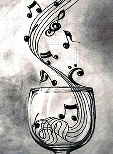 DIY 5D Diamante Pintura por Número Kit Copa de vino de nota musical Diamond Painting Bordado Crystal rhinestones Punto de Cruz para Pared de la sala para la Decoración Hogar F1330 Round_drill_25X30CM