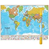 Waypoint Geographic Hemispheres Laminated Wall Map of the World, Includes Country Flags and Populations, Large Size Wall Art