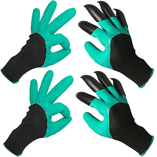 JSY-UP Unisex Garden Gloves with Sturdy Claws on Right Hand for Digging and Planting (2 Pairs)