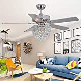 RainierLight Modern 52 inch Crystal Ceiling Fan Remote Control for Indoor Quiet Energy Saving Electric Fan/ Decoration