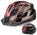 Casco de Bicicleta, Shinmax Casco de Ciclismo Certificado CE Casco MTB Hombre Mujer con Luz Trasera LED de 3 Modos Visera Desmontable Cascos Montaña Adulto Ultraligero Casco Bici Ajustable 56-62cm