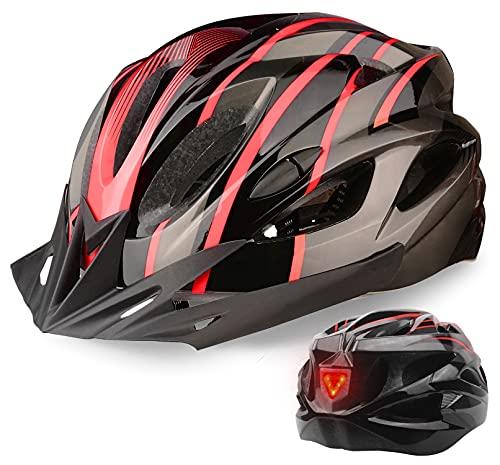 Shinmax Fahrradhelm Herren Damen MTB Helm Mountainbike 3 Modus LED Rücklicht Fahrrad Helm CE Zertifiziert Bike Helmet mit Abnehmbarem Visier Ultraleichter Verstellbarer Erwachsene Fahrradhelm 56-62 cm