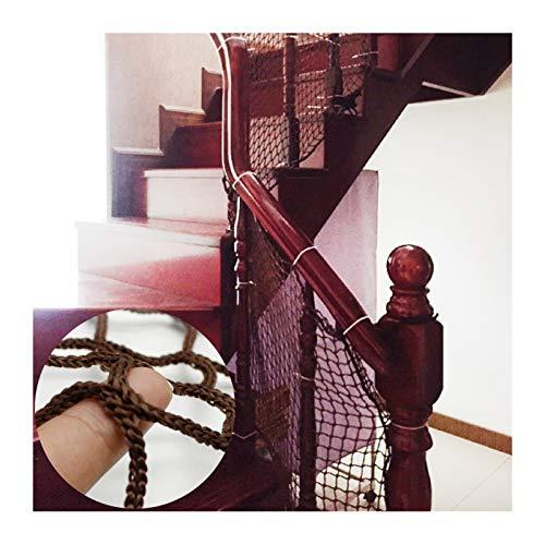OSHA HJWMM Red De Seguridad for Niños, Firma Red de Protección de Escalera, Malla Tejida Valla con Corbata for Barandillas Cunas Personalizable (Color : Brown, Size : L1XW1M(0.39'X0.39'))
