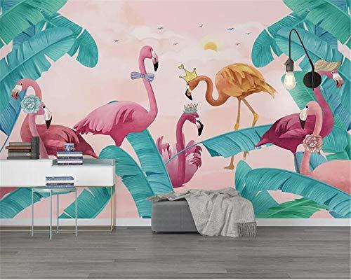 CQDSQN 3D Wandaufkleber Flamingo tropische Pflanze PVC Selbstklebend Tapete Wandgemälde Pizza Restaurant Café Wandgemälde Haar Nagel Schönheit Thema Modern Fotos Poster Wandkunst Flur D(B)300x(H)210cm