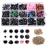 Pengxiaomei 560pcs Plastic Safety Eyes and Noses, 6-12 mm Black Safety Eyes Colorful Doll Making with 280 pcs Washer for Toy Making DIY Crafts