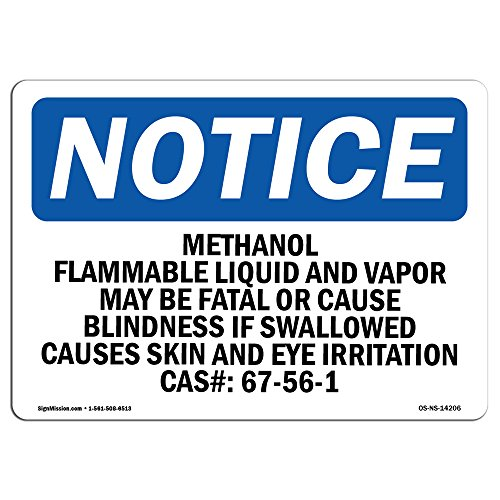 SignMission OSHA Notice Signs - Methanol Flammable Liquid and Vapor May   Decal   Protect Your Business, Work Site, Warehouse   Made in The USA, Landscape