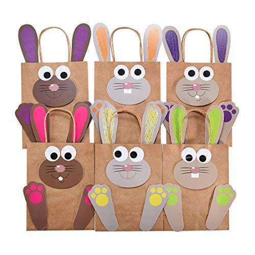 KOHMUI 6 DIY Osterhasen Tüten, Bunte Geschenktüten zu Ostern Party zum selber Befüllen, Osternester Papiertüten Bastelset zum Verpacken von Geschenken für Kinder und Erwachsene
