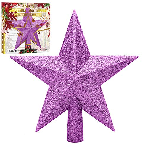 Aneco Glitter Christmas Tree Topper Shatter-proof Christmas Tree Decoration Treetop for Holiday Ornament or Home Decor (Purple, 4 Inches)