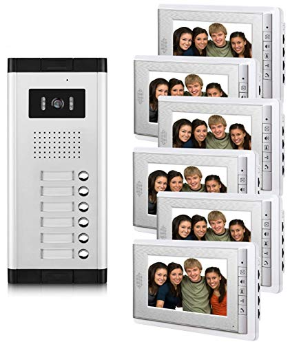 AMOCAM 6 Units Apartment Video Intercom System, 7 Inches Monitor Wired Video Door Phone Kit, Can See hear Video Doorbell kits, Monitoring, Unlock, Dual way Door Intercom, 6 PCS screen for Household