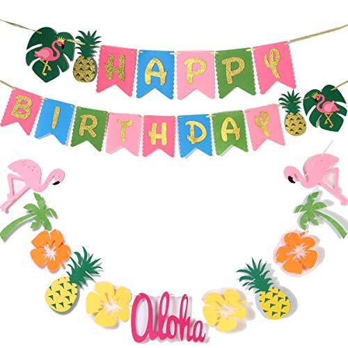 Hawaiian Party Decoration |Luau Party Supplies| Hawaiian Tropical Banner, Flamingo Garland for Pool Party Supplies,Tropical Party Decoration(set of 2),Birthday Banner for Beach Moana Party decorations