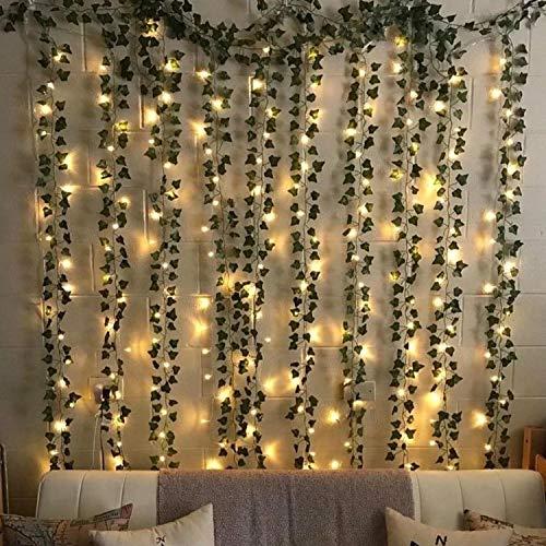 Preisvergleich Produktbild Künstliche Efeugirlande,  mit LED-Lichterkette,  12 Stränge,  künstliche Ranken,  grüne Blätter,  für Hochzeit,  Party,  Garten,  Wanddekoration
