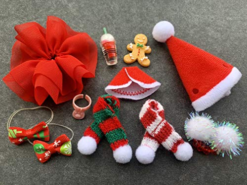 lps Pet Shop lps Accessories 11pcs Christmas Items Christmas Skirts Hat Drinks Bow Gingerbread Man for lps Cat ans Dogs