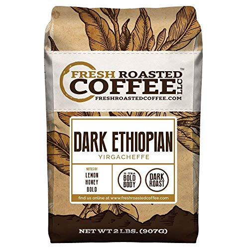 Fresh Roasted Coffee LLC, Dark Ethiopian Yirgacheffe Kochere Coffee, Dark Roast, Whole Bean, 2 Pound Bag