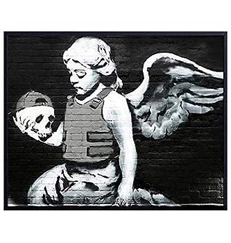 Banksy Fallen Angel with Skull Wall Art - Graffiti Wall Decor Street Art Poster Print - Urban Mural - 8x10 UNFRAMED
