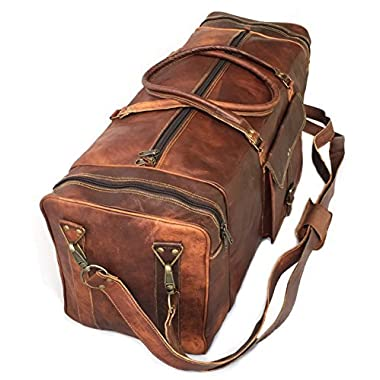 28  Inch Real Goat Vintage Leather Large Handmade Travel Luggage Bags in Square Big Large Brown bag Carry On By KK's leather
