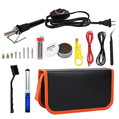 Soldering Iron Kit Electronics, Deaunbr Adjustable Temperature 60W Soldering Gun Welding Tools, 8pcs Soldering Tips, Desoldering Pump, Soldering Iron Stand, Tweezers, Soldering flux, Soldering Wire