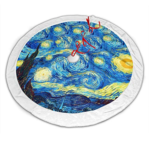 The Starry Night Van Gogh Christmas Tree Skirt 36 Inches, Large Velvet Christmas Tree Decoration Skirt Holiday Party Supply Tie Closure