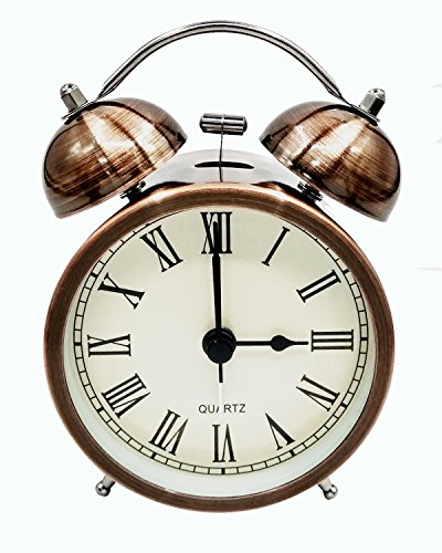 Cooja Vintage Retro Réveil de Voyage Silencieux sans Tic Tac, Analogique Quartz Horloge à Double Cloche avec Alarme Fort, Reveil Matin à Piles pour Enfant Kid Sleep (3 Pouces)