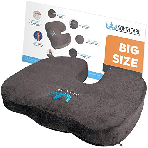 "SOFTaCARE Best Seat Cushion - Big Cushion Seat - Office Chair Cushion 18""x16""x3 1/2""- Chair Pillow Memory Foam! Ideal Car Seat Cushion-Coccyx Cushion-Relieve Your Pain Size has The Meaning (Dark Gray)"