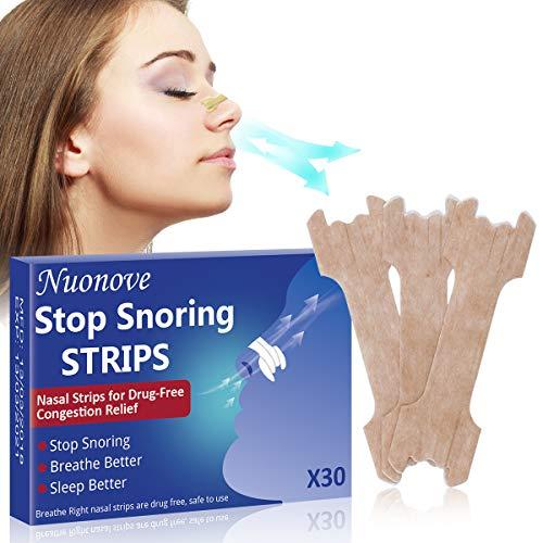 Cerotti Nasali, Nasal Strips, Russare Rimedi, Cerotti per Naso Antirussamento per Respirare Meglio, Supportano l'apnea del sonno e la congestione nasale, 30 PZ