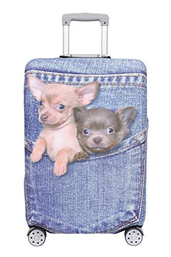 【こもれび屋】スーツケース 保護 カバー かわいい イヌ ネコ デニム トランクケース キャリーケース 伸縮 旅行 OD13 (犬・ チワワ(ブルー), L)