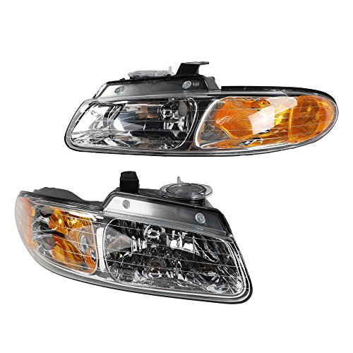 2PC Driver & Passenger Headlights Headlamps Set Replacement for Dodge 1996 1997 1998 1999 Caravan / Grand Caravan Plymouth 96-99 Grand Voyager / Voyager 96-97 Chrysler Town & Country