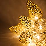 6' Mercury Glass Gold Star Lights/Gold Glass Pinecone String Lights – LED Lights String, Battery Operated, 10 Warm White LED Lights on Clear Wire (10 Pinecone Lights)
