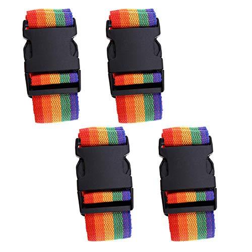Set di 4 cinghie per valigia, per bagagli, cinghia per cintura e bagagli, con fibbia, larghezza 5,7 cm, lunghezza 175 cm, regolabile, confezione da viaggio, colore arcobaleno