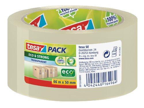 tesapack Eco und Strong - Umweltschonendes Paketband aus 100 Prozent recyceltem Kunststoff, UV- und alterungsbeständig - Transparent - 66 m x 50 mm