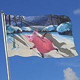 wallxxj Fahne Schwein-Rochen-Rosa-Klares Yard-Flaggen-Bunte Garten-Flaggen Standardwillkommen, Das Feiertags-150X90Cm Yard-Fahne Im Freien Druckt