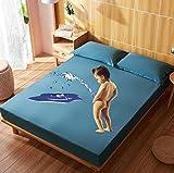 XLMHZP sabanas Hotel,Ropa de Cama de Dibujos Animados Acolchada Cubierta de colchón Impermeable sábana Gruesa de Calor...