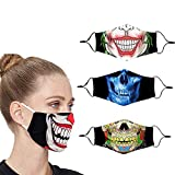 Villas Cloth Designer Cute Halloween Clown Face Mask Breathable Thin Reusable Funny Washable Adjustable Fashion Cotton Cooling Fabric Scary Lightweight for Men Women Sports (Black)