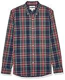 Goodthreads Standard-Fit Long-Sleeve Plaid Poplin Shirt Button-Down-Shirts, Navy Oversized Tartan, Small