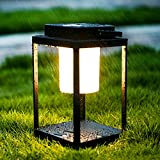BRIMMEL LED Portable Table Lamp 35W 3000K Lantern Outdoor Nightstand Lamp Hand Light IP44 Waterproof Cordless 3-Level Touch Control Bedside Lamp with USB Port Drinking/Reading/Walking, Aluminum, Black