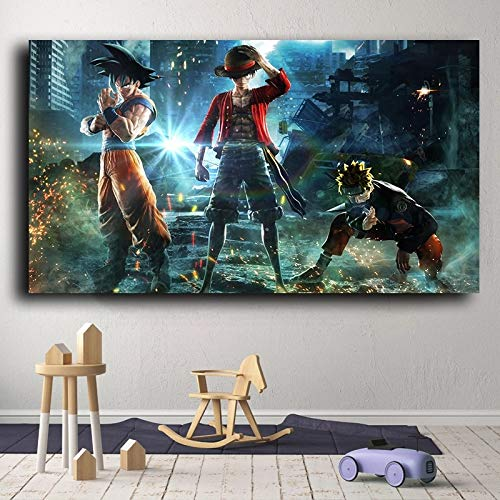 BGFDV Road Japanese Anime Character Flying Poster Print Goku Naruto Cartoon HD Picture Canvas Painting Mural Picture Children's Room Decoration Culottes