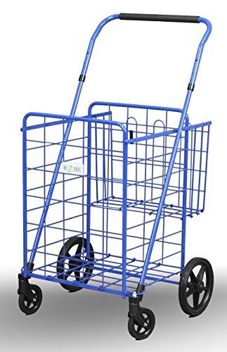 "Uniware 1210-BL Shopping Cart with Back Basket, 23.5"" x 25.5"" x 42"", Large, Blue"