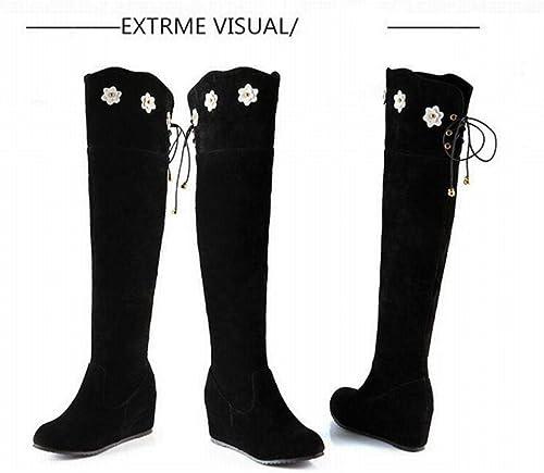 Fuxitoggo Stiefel para damen - Stiefel de Cuero con Aumento Occidental Stiefel Altas cálidas de Invierno   35-43 (Farbe   schwarz, tamaño   42)